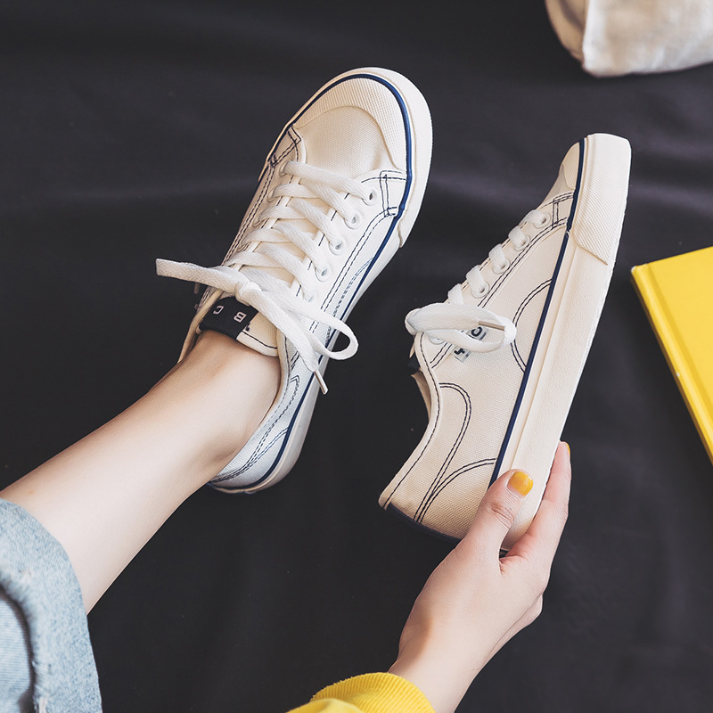 Canvas shoes female ins tide 2021 spring and summer new students Korean version of ulzzang board sho