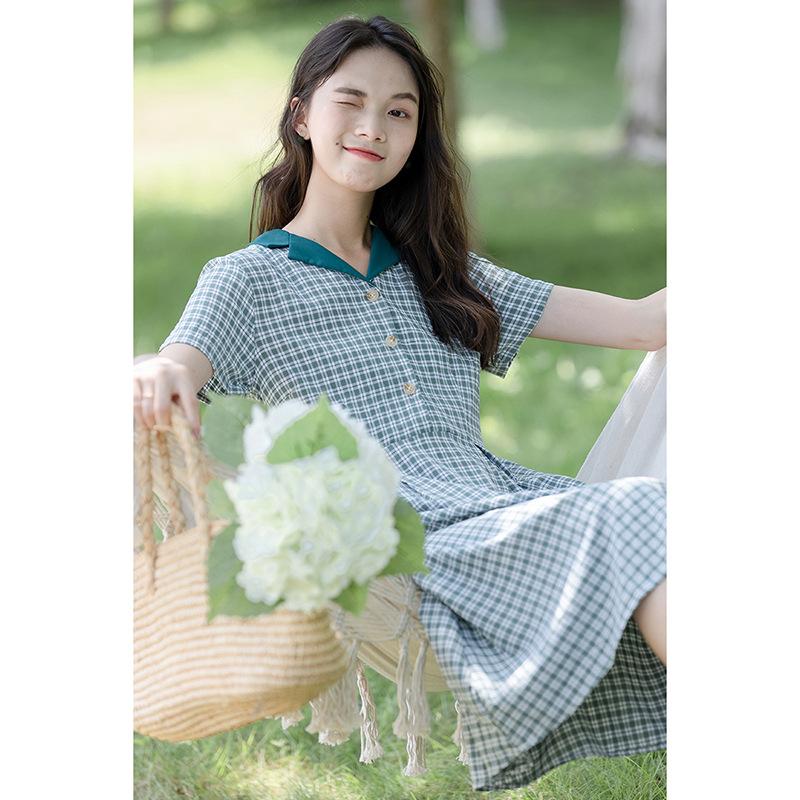 Green plaid skirt female summer thin section 2021 new Korean version of the waist slimming short-sle
