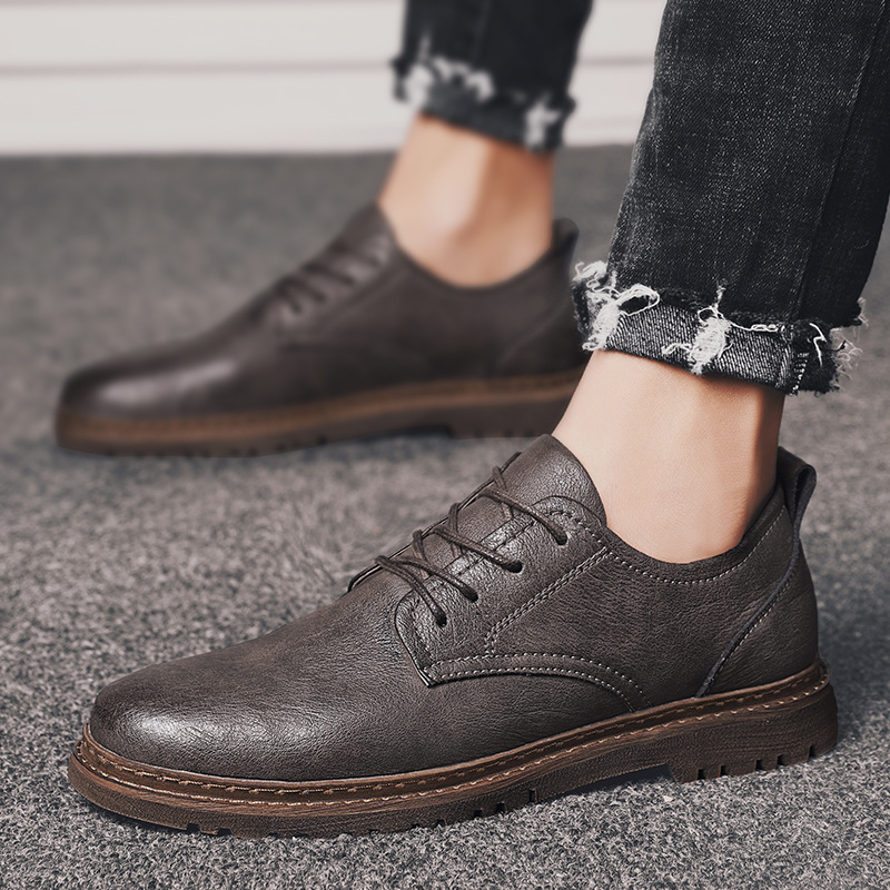 New lace-up low-top men's leather shoes, retro summer and autumn youth men's shoes trend, daily ca