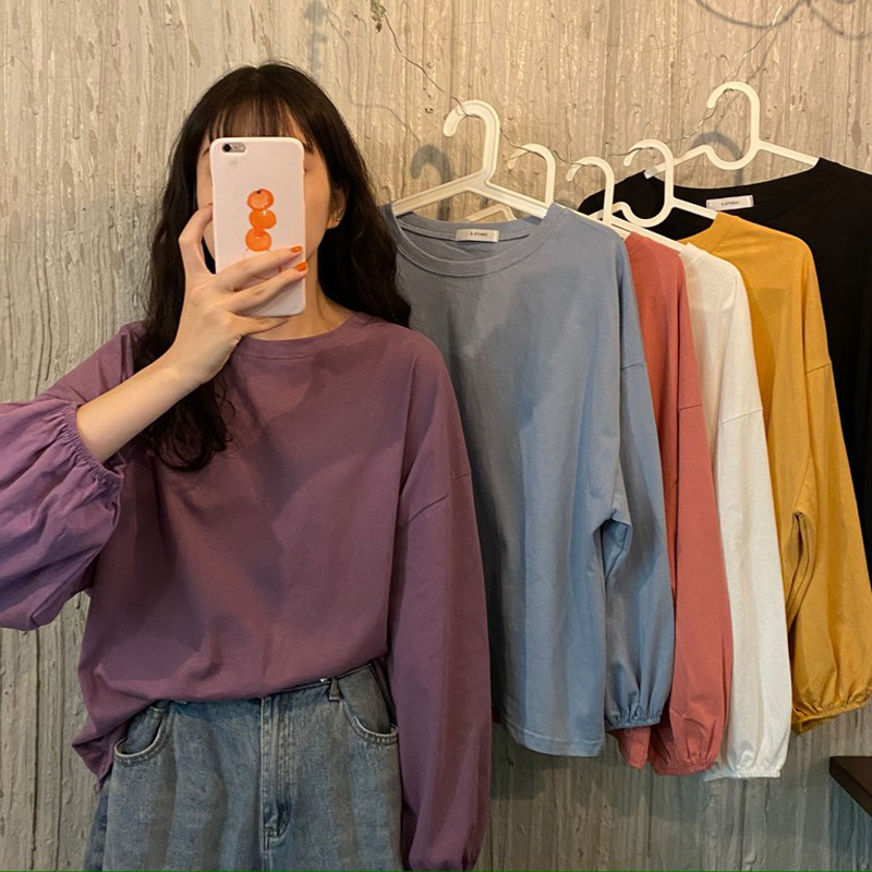 Long-sleeved t-shirt women's bottoming shirt lantern sleeve top spring and autumn 2021 new style lo