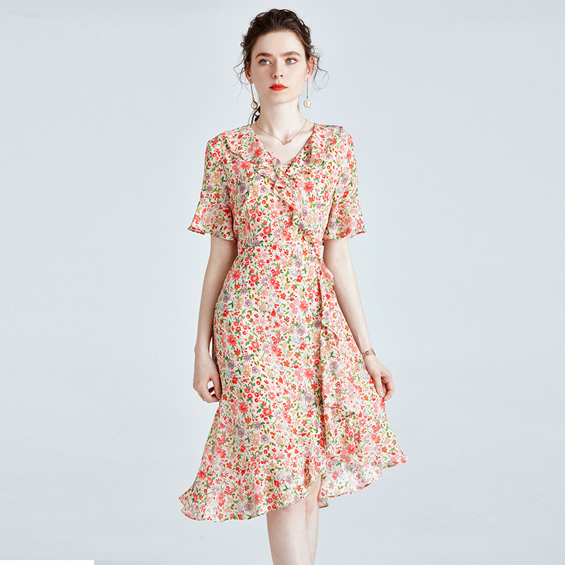 Mulberry silk dress 2021 summer new slim fashion slim French ruffled silk floral a-line skirt