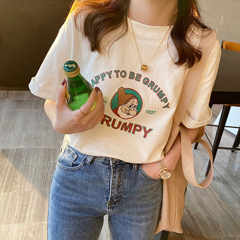 White t-shirt women short-sleeved spring/summer 2021 new Korean version of loose simple compassionat