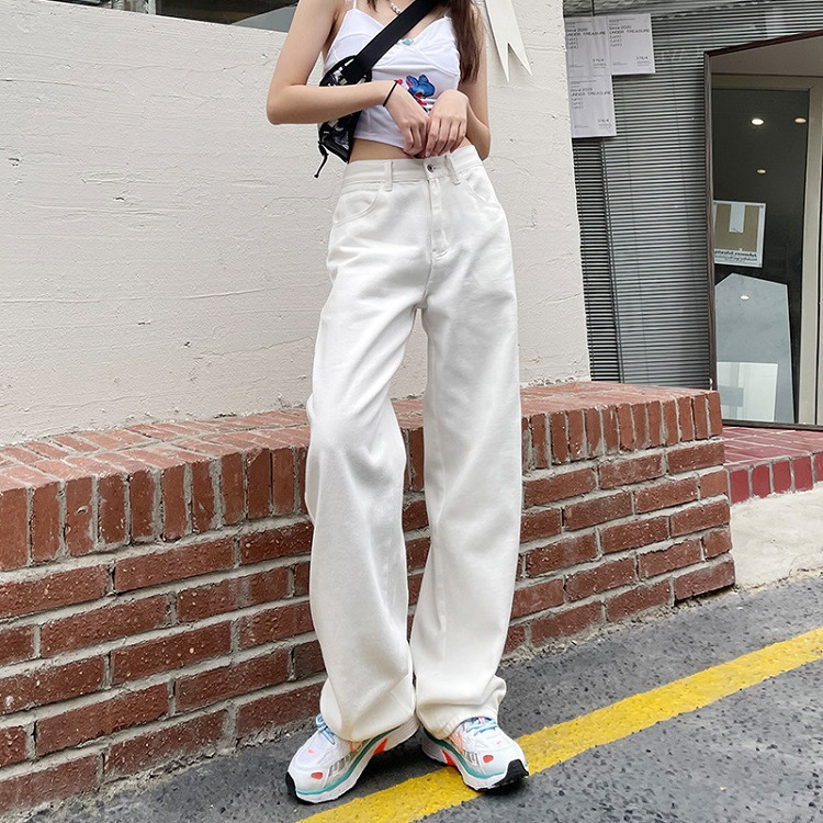 Jeans women 2021 new spring and autumn thin section loose and thin white high waist wide legs nine p
