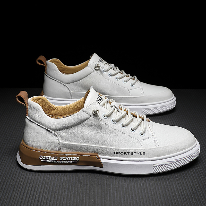 The first layer of leather small white shoes men's shoes 2021 new trendy shoes summer thin models a