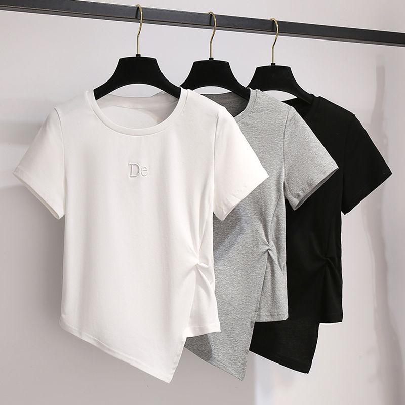 Letter embroidery short-sleeved t-shirt women summer niche design sense tops Slim irregular t-shirt
