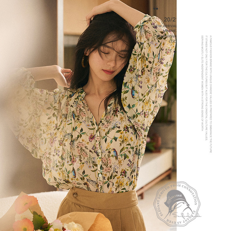 Nightingale and flower romantic and charming French floral V-neck mulberry silk shirt female slim 7-