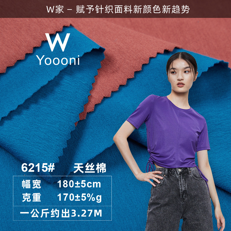 WYoooni W 40s Tencel cotton jersey fabric 170g spring and summer plain weave single-sided stretch fr