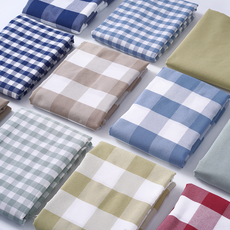 Japanese striped pet nest imitation linen fabric Yarn-dyed cotton and linen plaid fabric Pure color