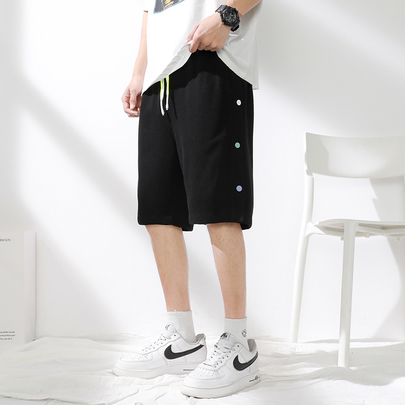 Side-breasted shorts men's summer 2021 thin loose casual trend over the knee five-point sports pant