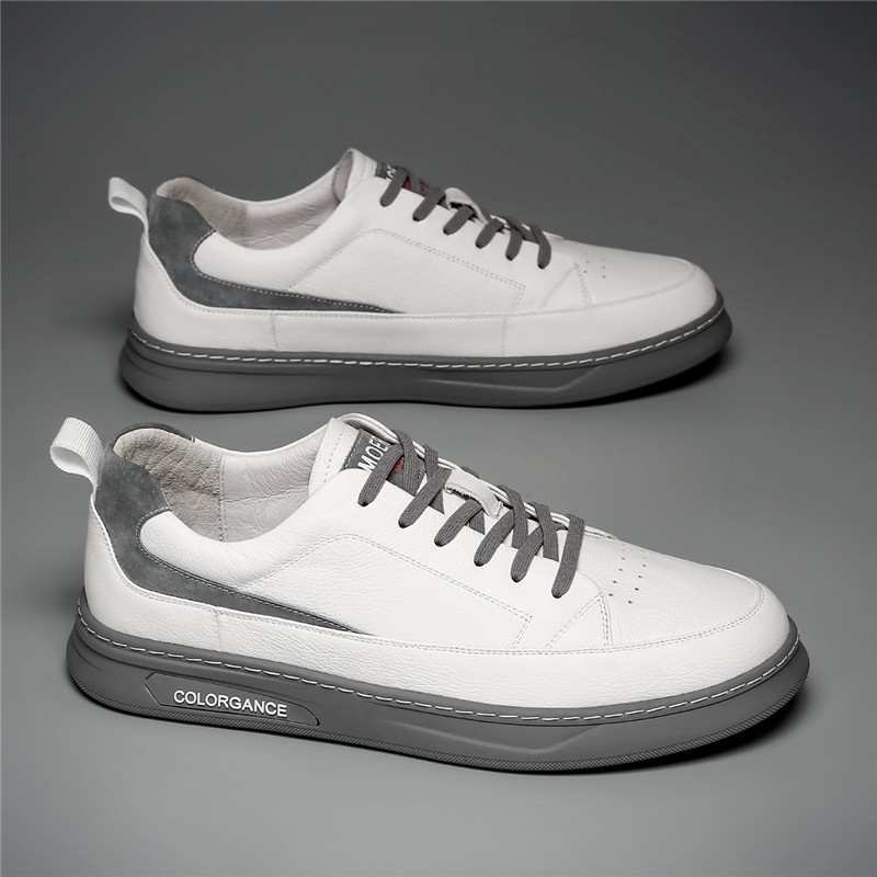 The first layer of cowhide rubber outsole men's shoes summer breathable Korean white shoes men's f