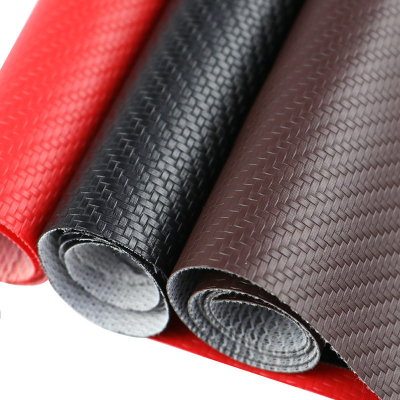 Imitation carbon fiber leather 0.6mm straw mat pattern car furniture packaging decoration artificial