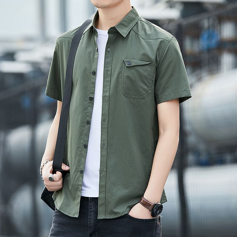 Summer short-sleeved tooling shirt men's 2021 new large size loose lapel casual cotton men's shirt