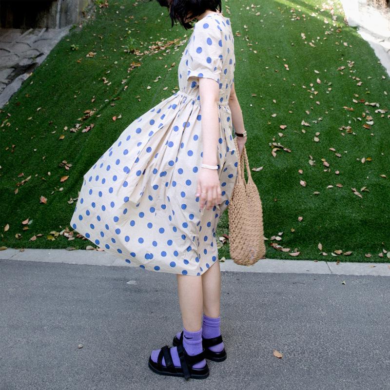 Korean version of retro temperament Copenhagen blue wave dot casual dress female summer lace-up thin