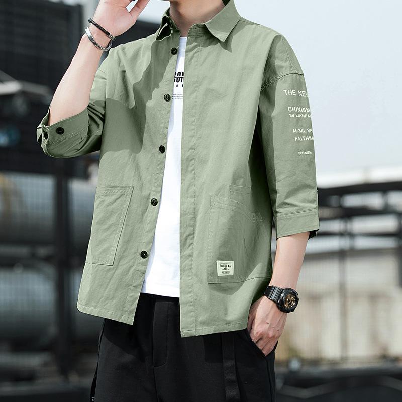 Workwear shirt men's summer new seven-point short-sleeved trendy clothes Hong Kong style Japanese c