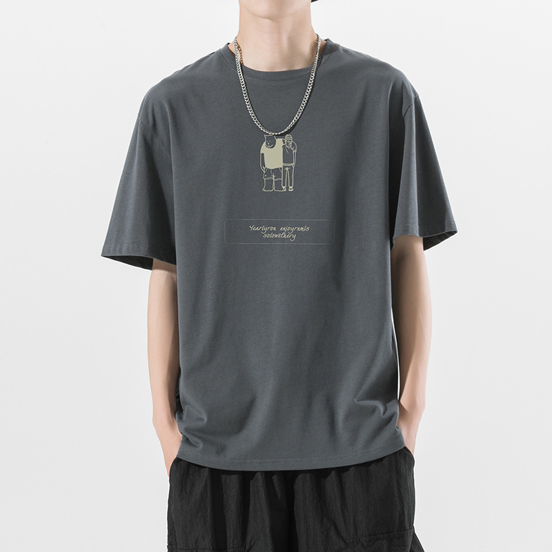 ins personality pattern T-shirt men's summer five-point sleeve Hong Kong style trend short-sleeved