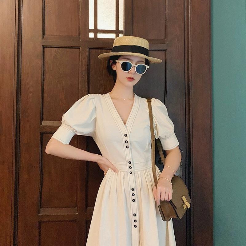 Women's 2021 summer new plus size dress waist thin section niche fairy short-sleeved thin design sk