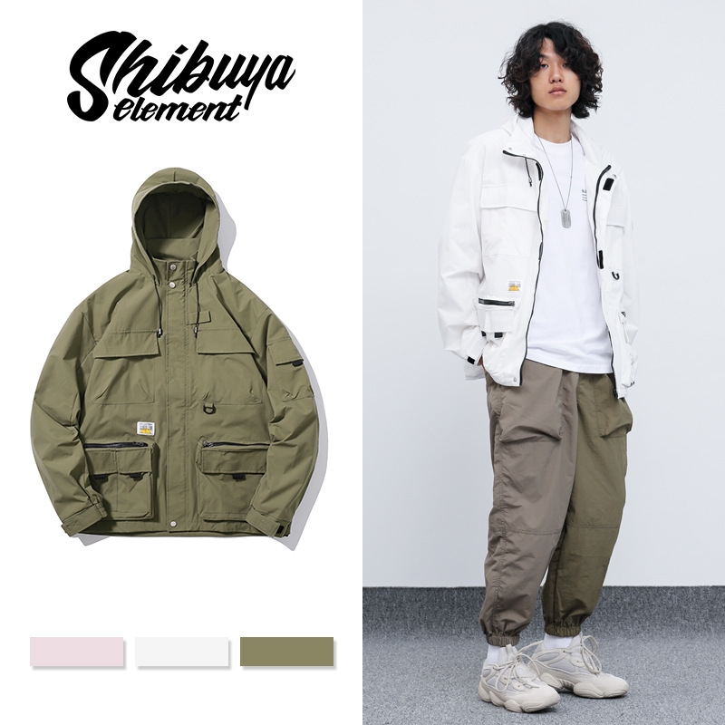 Workwear jacket men's trendy hip-hop loose military style three-dimensional pocket hooded jacket me