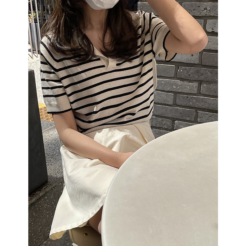 POLO collar knitted pullover women's 2021 summer new Korean version of the wild casual thin striped
