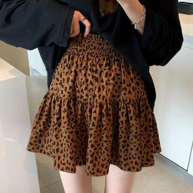 2021 Autumn New Leopard Print Skirt High Waist A-line Skirt Design Sense Girl's Waist Waist and Thi