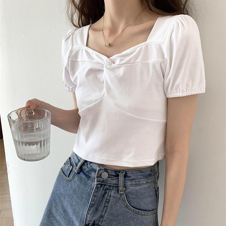 Design sense V-neck white t-shirt women's short-sleeved 2021 new French square-neck short knit swea
