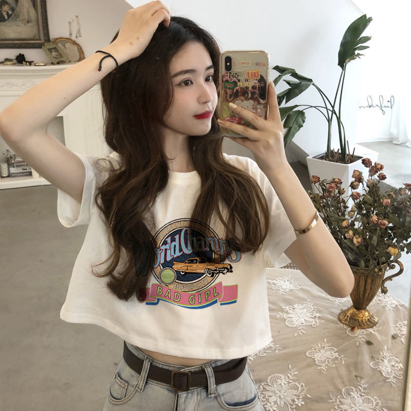 New white short-sleeved t-shirt women's short tops women's cotton t-shirts summer students Korean
