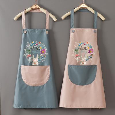Tạp dề nhà bếp của phụ nữ ở nhà dễ thương nấu ăn không thấm nước và chống thấm dầu áo khoác thắt lưn