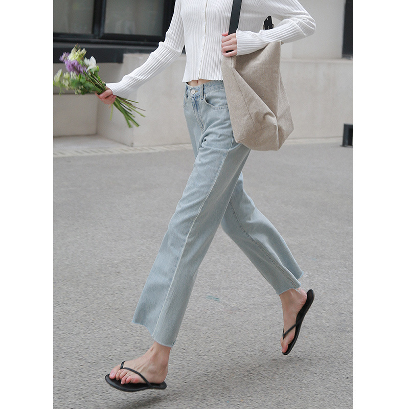 2021 Fall New Korean Slim Straight Frayed Jeans High Waist Casual Washed Jeans
