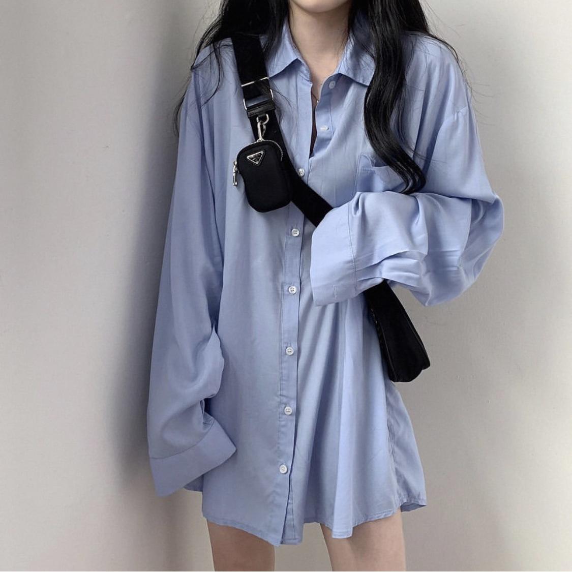 2020 loose shirt female Korean style chic sunscreen silky fall feeling sunscreen long-sleeved mid-le