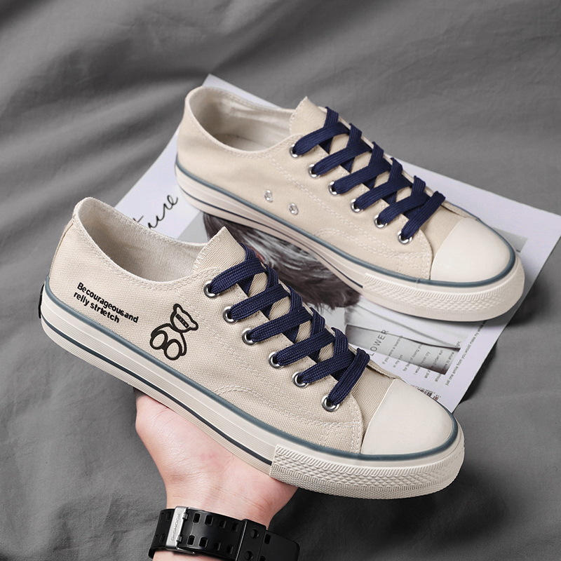 2021 new street style trendy canvas shoes men's summer low-top flat casual shoes bear fashion stude