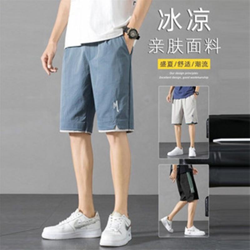Casual pants men's shorts 2021 new summer pants men's pants loose five-point breathable trend beac