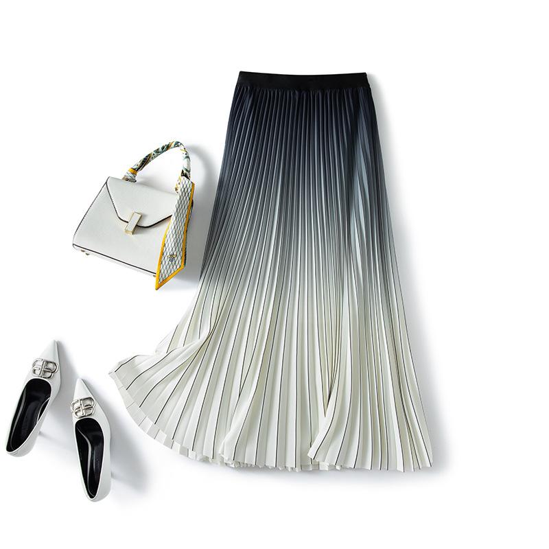 2021 new half-length skirt summer high-waisted thin A-shaped mid-length fashion temperament gradient