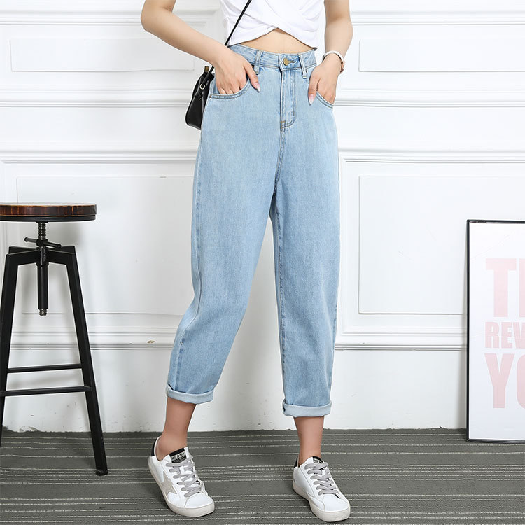 2020 summer and autumn new Korean style high waist casual jeans women's light blue loose cropped tr