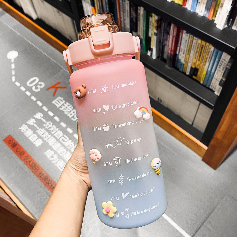 Creative large-capacity plastic cup bouncing cover outdoor frosted sports bottle gradient color spac