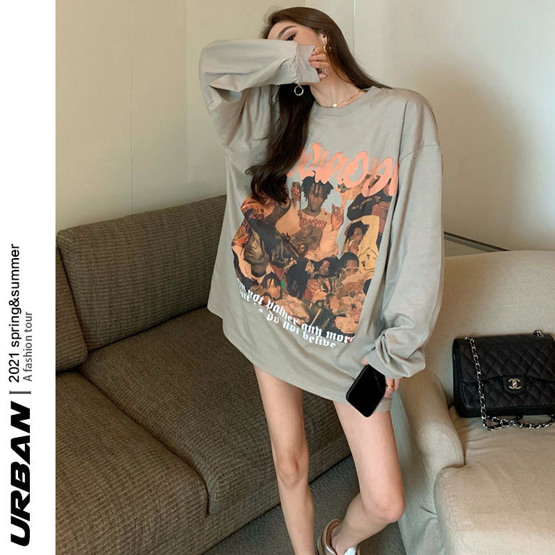 American t-shirt summer new retro oversize long-sleeved t-shirt sunscreen clothing loose lower body