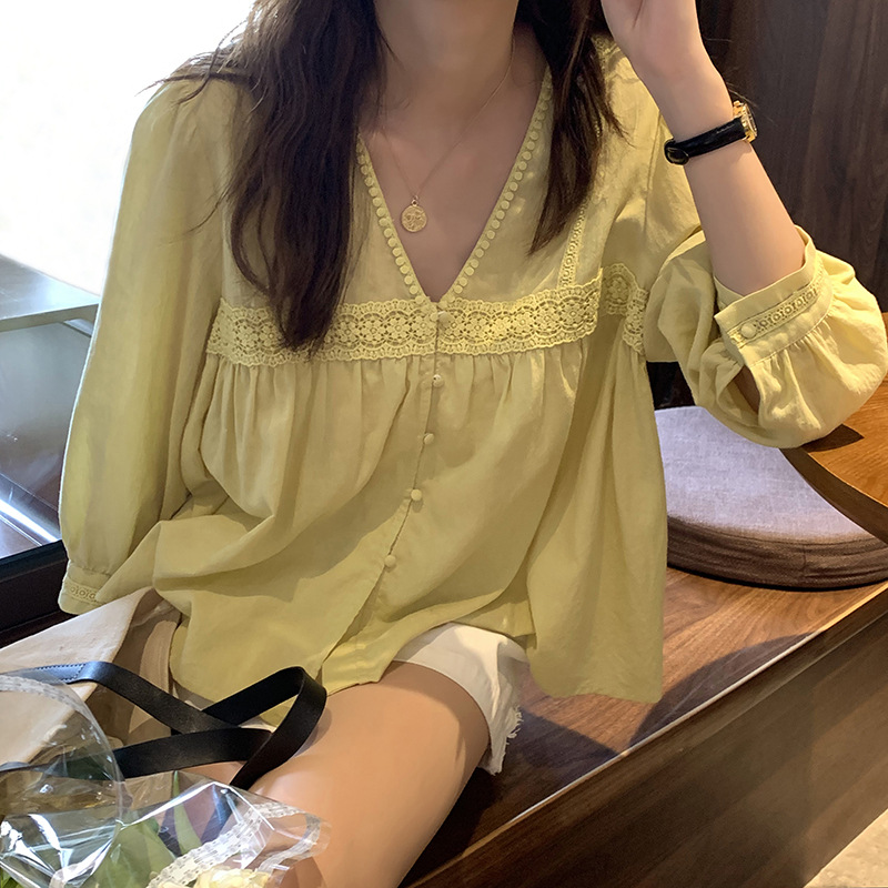 V-neck lace long-sleeved shirt women 2021 summer Korean style loose lazy casual top