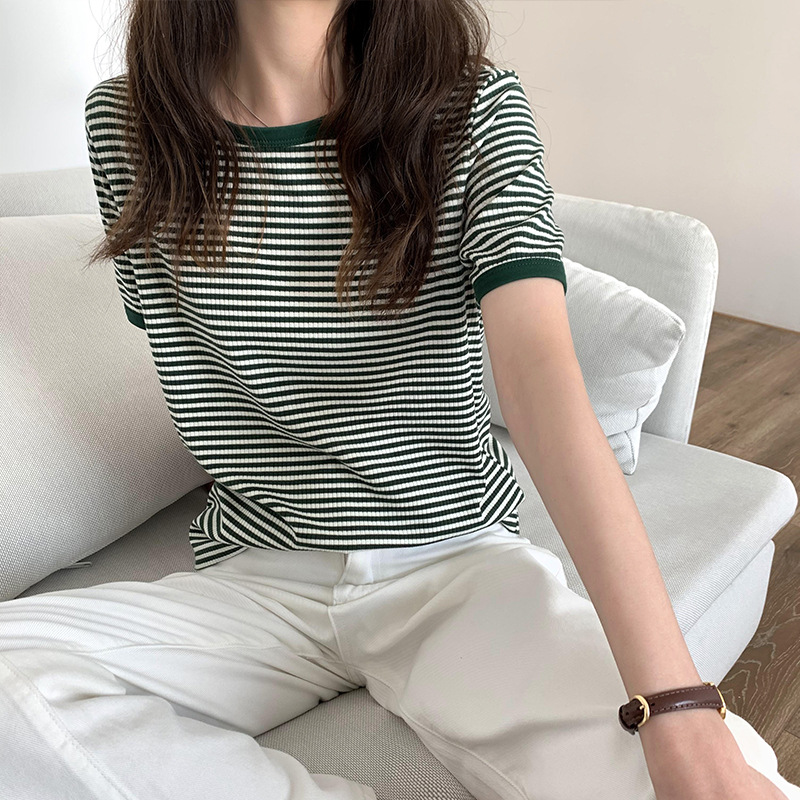 Women's 2021 summer new retro hit color striped t-shirt female skin-friendly chic bottoming shirt s