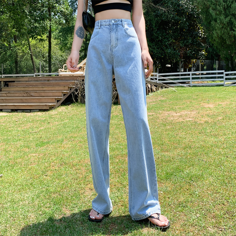 High waist jeans women 2021 summer new style loose and thin straight mopping pants white denim wide