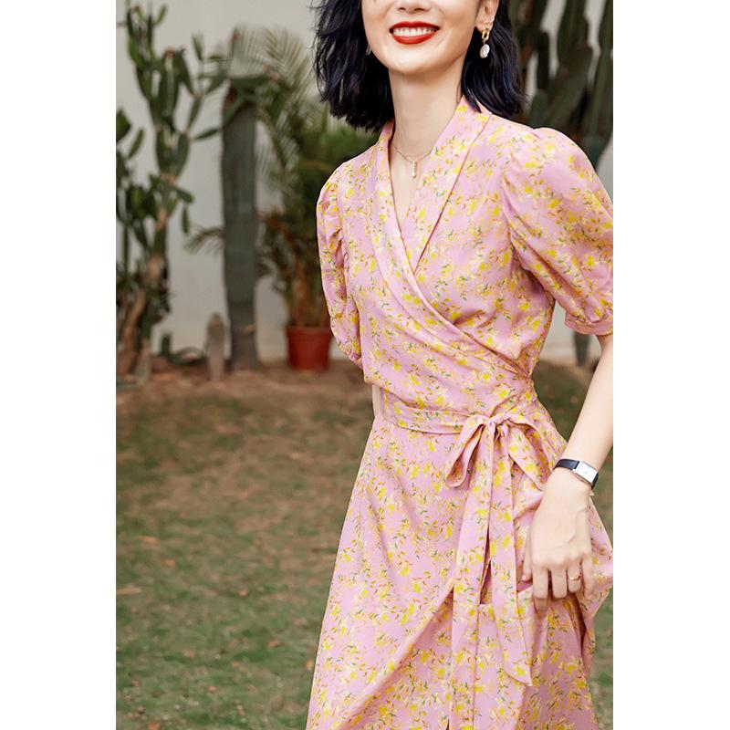 New silk mulberry silk dress 2021 summer women's high waist thin floral skirt temperament long skir