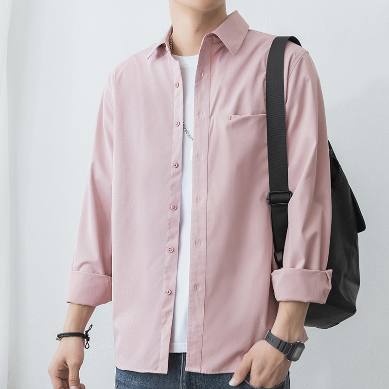 Long-sleeved shirt men's spring and autumn Hong Kong style, Japanese loose-fitting shirts, trendy w