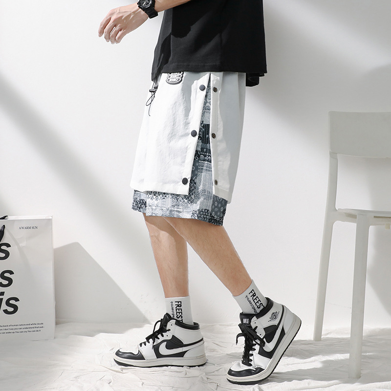 Breasted cashew flower shorts men's summer 2021 fashion trend men's five-point pants guard pants y