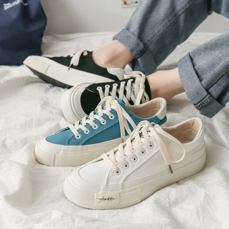 Men's shoes 2021 summer black and white canvas shoes men's Korean version of the wild casual coupl