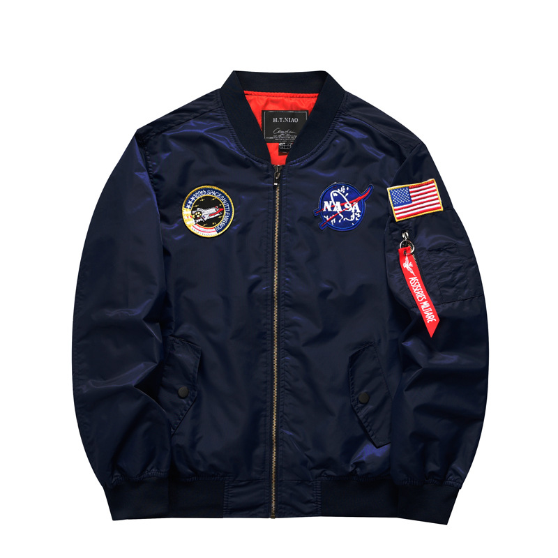 European and American spring and autumn new style men's casual trend thin flight jacket large size