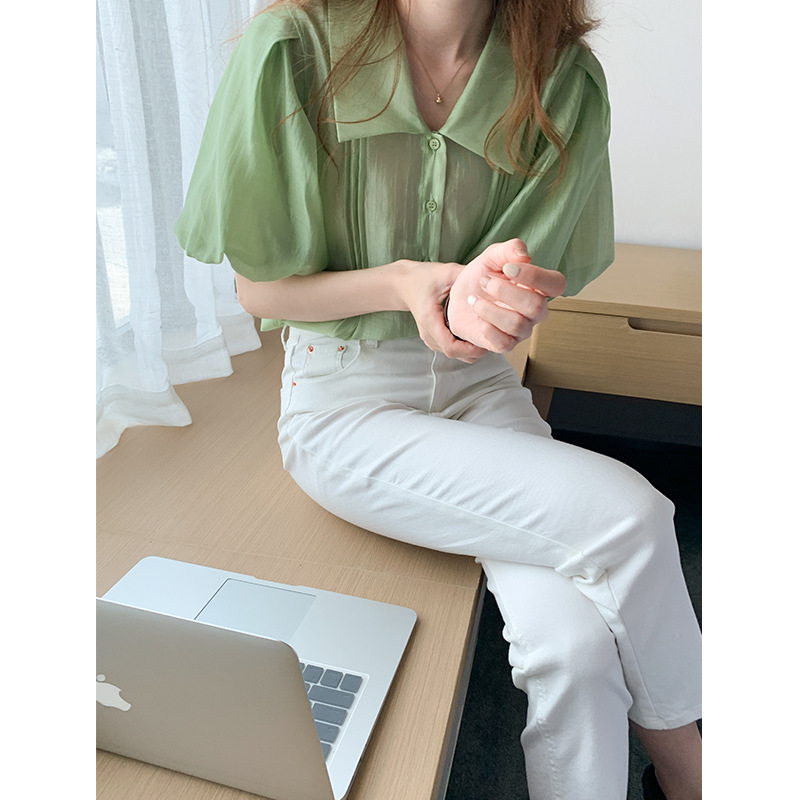 TG design lapel shirt women 2021 summer new French style lantern sleeve solid color loose top