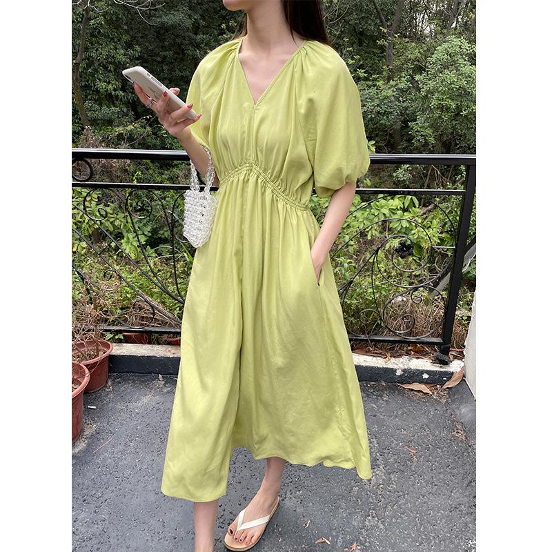 Mulan 2021 summer new V-neck thin elastic waist skirt women lazy casual ins wind dress