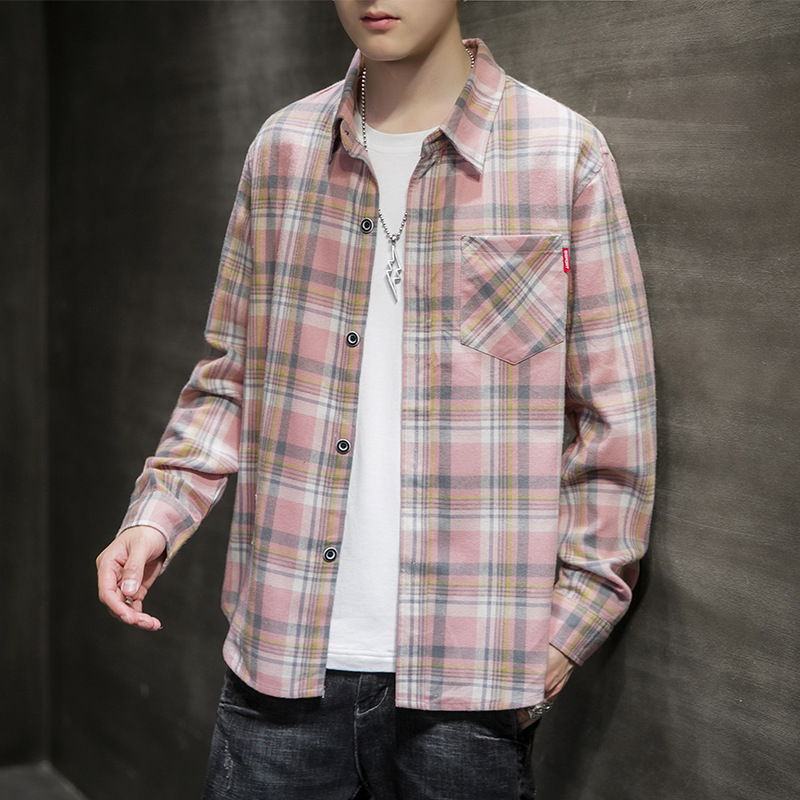 Shirt men's summer new long-sleeved jacket clothes Hong Kong style trend handsome self-cultivation