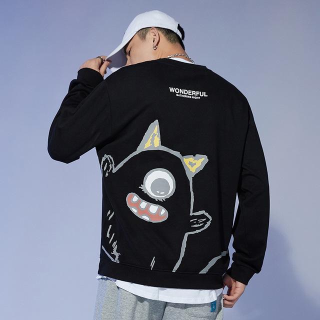 2021 autumn and winter new Korean men's sweater tide brand round neck long-sleeved little devil pri