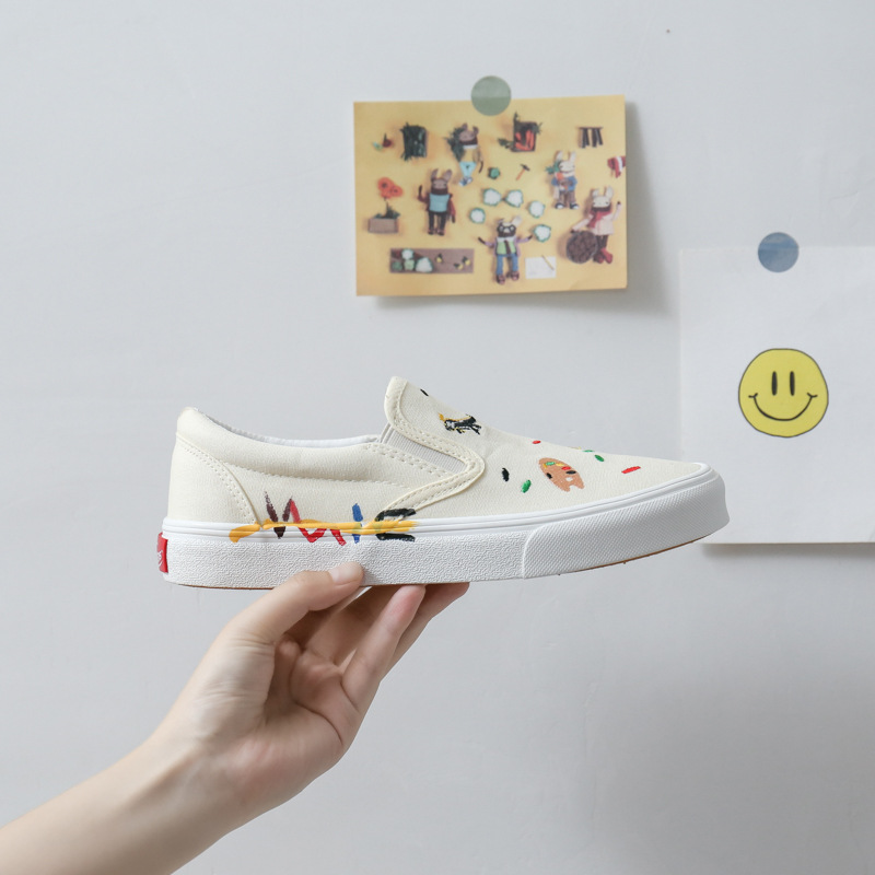 VASIBAEN Wansba summer graffiti one-step canvas shoes female ulzzang white shoes all-match female bo