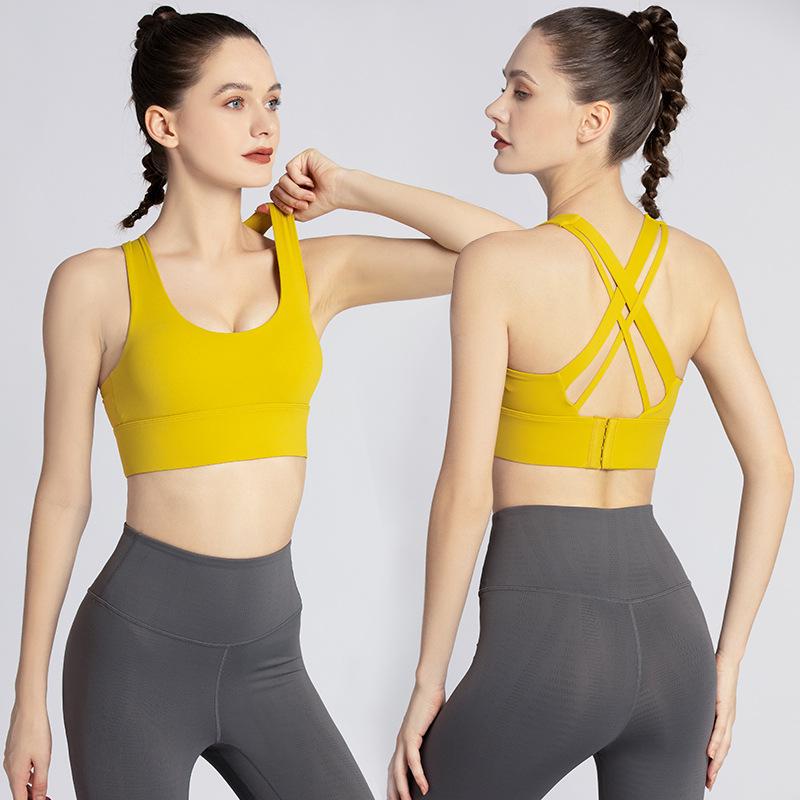 Nylon lulu sports underwear women's summer high-strength shock-absorbing nude tops running fitness