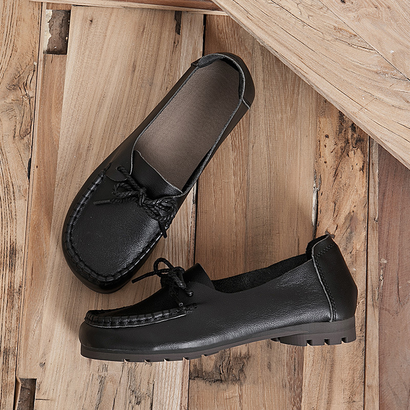Three sheep single shoes flat first layer cowhide soft bottom soft leather 2021 new seasons women's