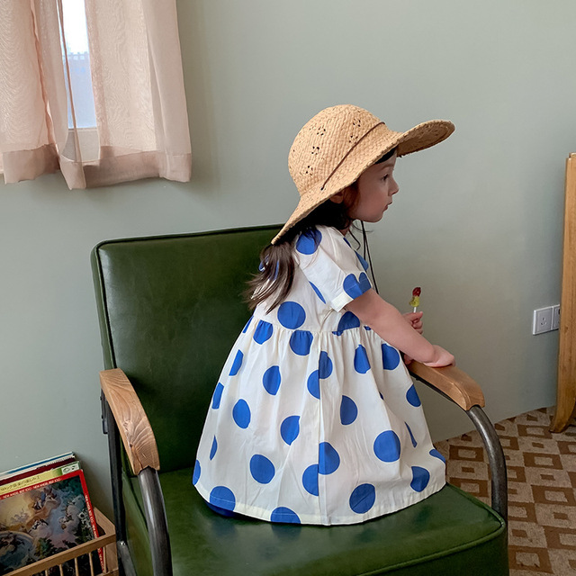 Infant girls three-color cotton dress 21 summer new style cotton printed skirt Korean girl dress